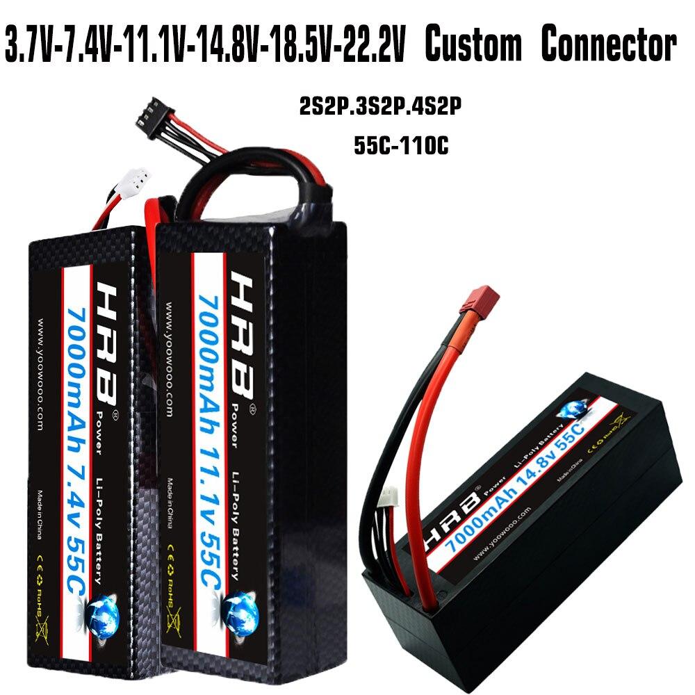 HRB RC batterie Lipo 7.4 V 11.1 V 14.8 V 7000 mah 55C Max 110C 2S2P 3S2P 4S2P étui rigide pour RC 1/10 Traxxas Stampede voiture camion