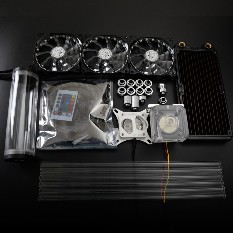 Syscooling hard tube colorful control system computer CPU water cooling kit with copper radiator