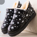 2016 fashion polka dot star printing botas women warm fur flat winter shoes for ladies thick platform waterproof snow boots