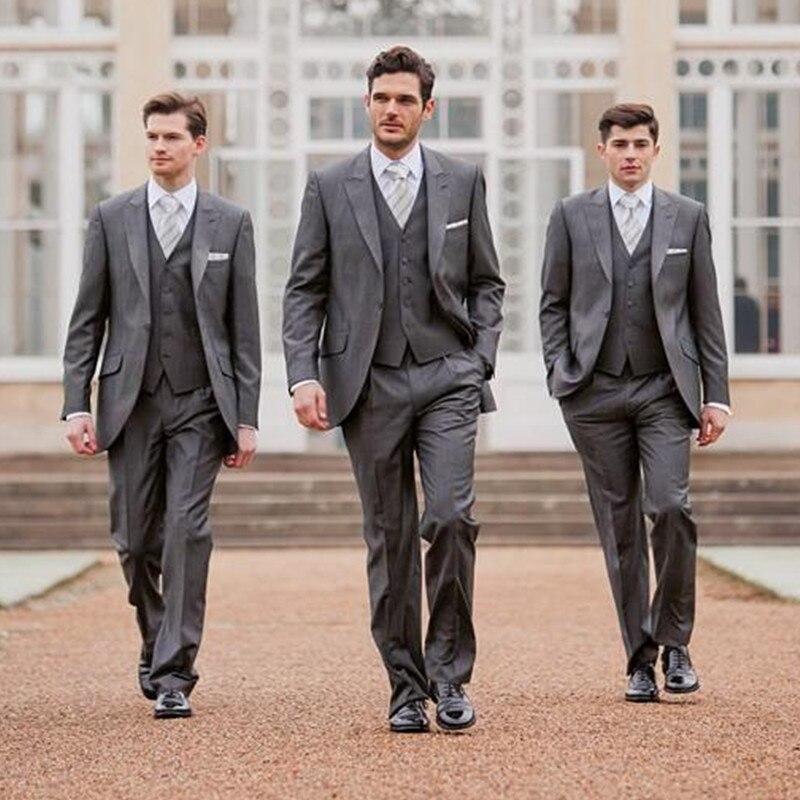 134-1 Custom Made New Arrive Fashion Style Groomsmen Suits Tuxedo One Button Two-Piece Suit Tuxedo & Suits (Jacket+Pants+Vest)