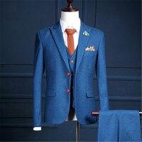 RUELK 2019 известный бренд мужские костюмы Свадебные Жених плюс размеры 3XL 3 предмета в комплекте (куртка + жилет брюки) Slim Fit повседневное смокинг