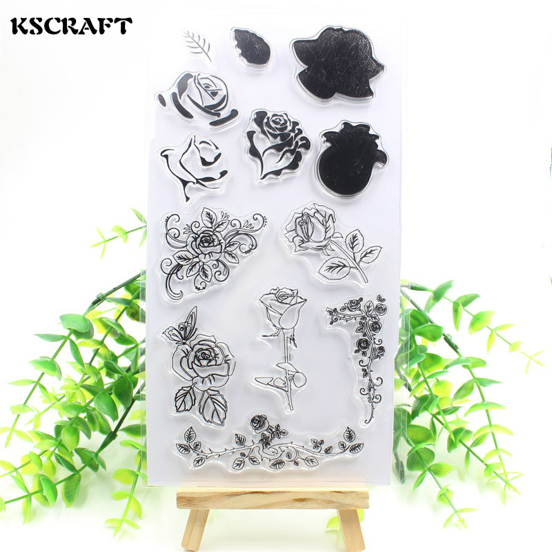KSCRAFT New Flowers Transparent Clear Silicone Stamp/Seal for DIY scrapbooking/photo album Decorative clear stamp sheets flowers and lace design transparent clear silicone stamp seal for diy scrapbooking photo album wedding gift cl 083