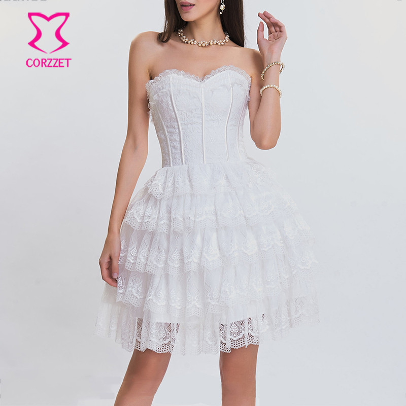 Victorian Floral Lace & Satin Ruffle Trim Sexy White Wedding Corset Dress Burlesque Costumes Gothic Dresses Steampunk Clothing