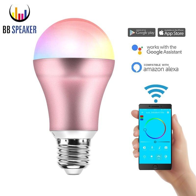 Led glühbirne E27 Smart Lampe E14 7 watt APP WIFI Fernbedienung Intelligente Birne B22 Wifi Google Hause Warme weiß und RGB Led lampe