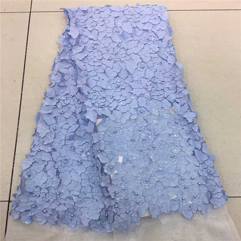 Blue Color African Lace Fabric 2018 Embroidered Beaded Laces Fabric High Quality French Tulle Lace Fabric For Women  rf-1304