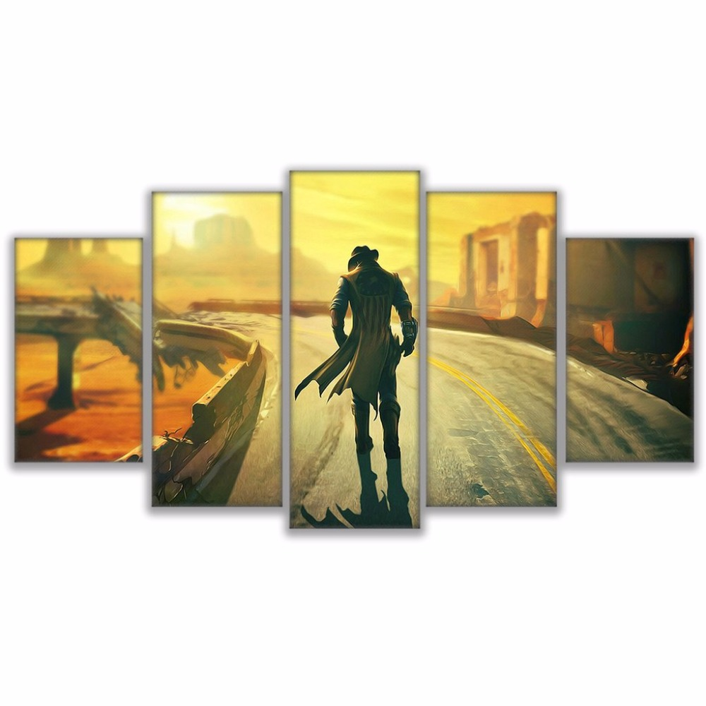 Modular Canvas Painting Living Room Wall Art 5 Pieces Fallout 4 ...