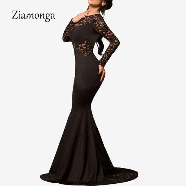 Ziamonga Runway Lace Dress Black Long Sleeve Mermaid Wedding Party ...