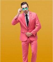 Świeże Hot Pink Młodych Mężczyzn Garnitury Custom Made Vent Elegancki Pan Młody Mężczyzna Smokingi Ślub Mariage Homme Ternos (Kurtka + spodnie + Krawat)