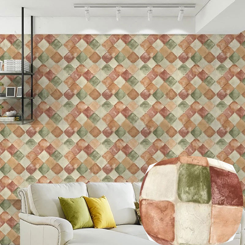 Colored Stone Wallpaper Diamond Kitchen Oilproof Tiles Wall Sticker Thick Waterproof Selfadhesive Baseboard Home Decor 45*1000cm
