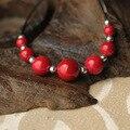 De las mujeres de la joyería étnica hecha a mano tibetano de piedra granos de los colgantes de collar rojo, nueva thailandchinese viento vintage collar hecho a mano
