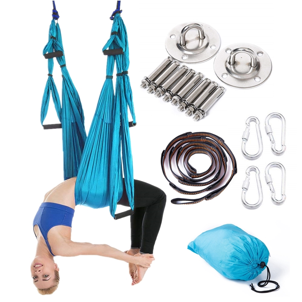 Full Anti gravity Aerial Yoga Hammock Set Multifunction Yoga Belt Flying Yoga Inversion Tool for Pilates Body Shaping 15 Color