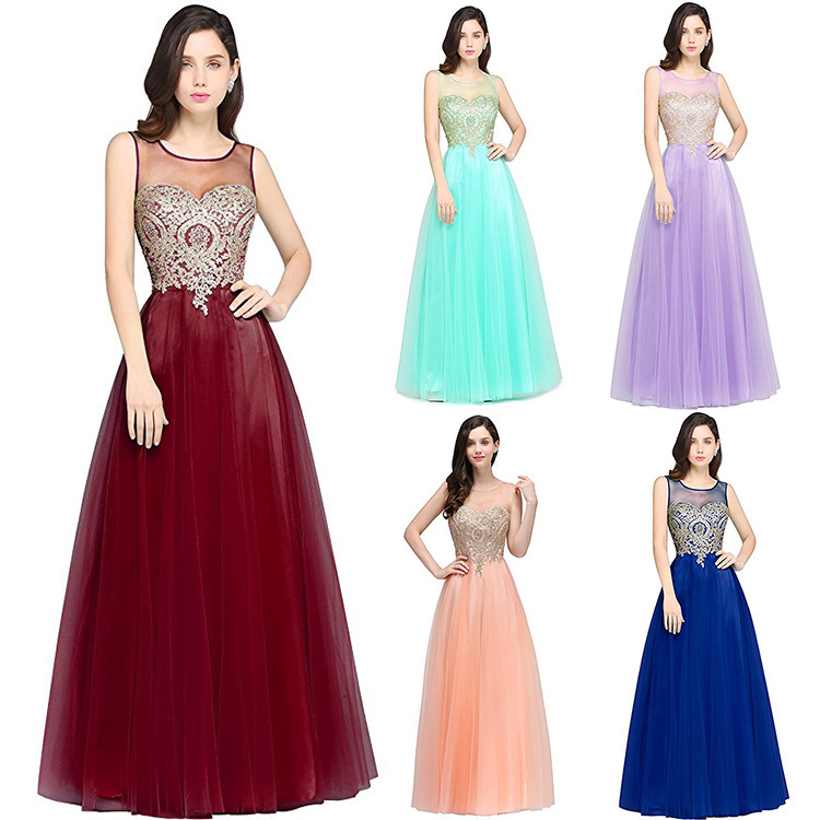 A-Line Candy Color   Prom     Dresses   2018 Applique Lace Sleeveless Ball Gown Girl`s Lovely Long Party   Dress   Colorful vestido de festa