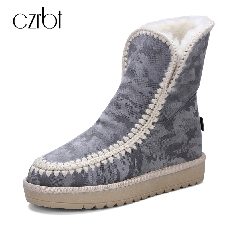 CZRBT High Quality Women Boots 2018 Winter Snow Boots Warm Fur Ankle Boots Flat Heel Woman Round Toe 4 Colours Casual Shoes winter woman boots lace up ladies flat ankle boot casual round toe women snow boots fashion warm plus cotton shoes st903