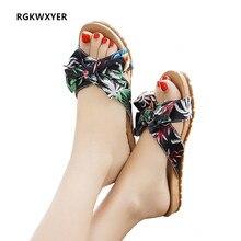 RGKWXYER Summer New Woman Shoes Indoor Outdoor Casual Sandals Slipper Bow Beach Ladies Platform Chinelo Feminino