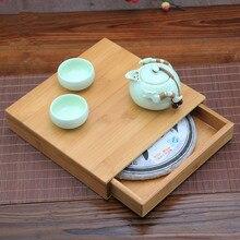 Japan Style Handmade Pu Er Tea Box Kung Fu Tea Storage Tools Health Care Eco-friendly Tea Set Bamboo Tray  Wholesale