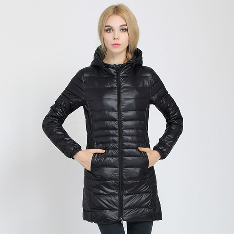 Winter Jacket Women 2019 New Slim Hooded   Down   Jackets Woman's Warm   Down     Coat   Ultra Light Jackets Portable Duck   Down   Parkas 6XL