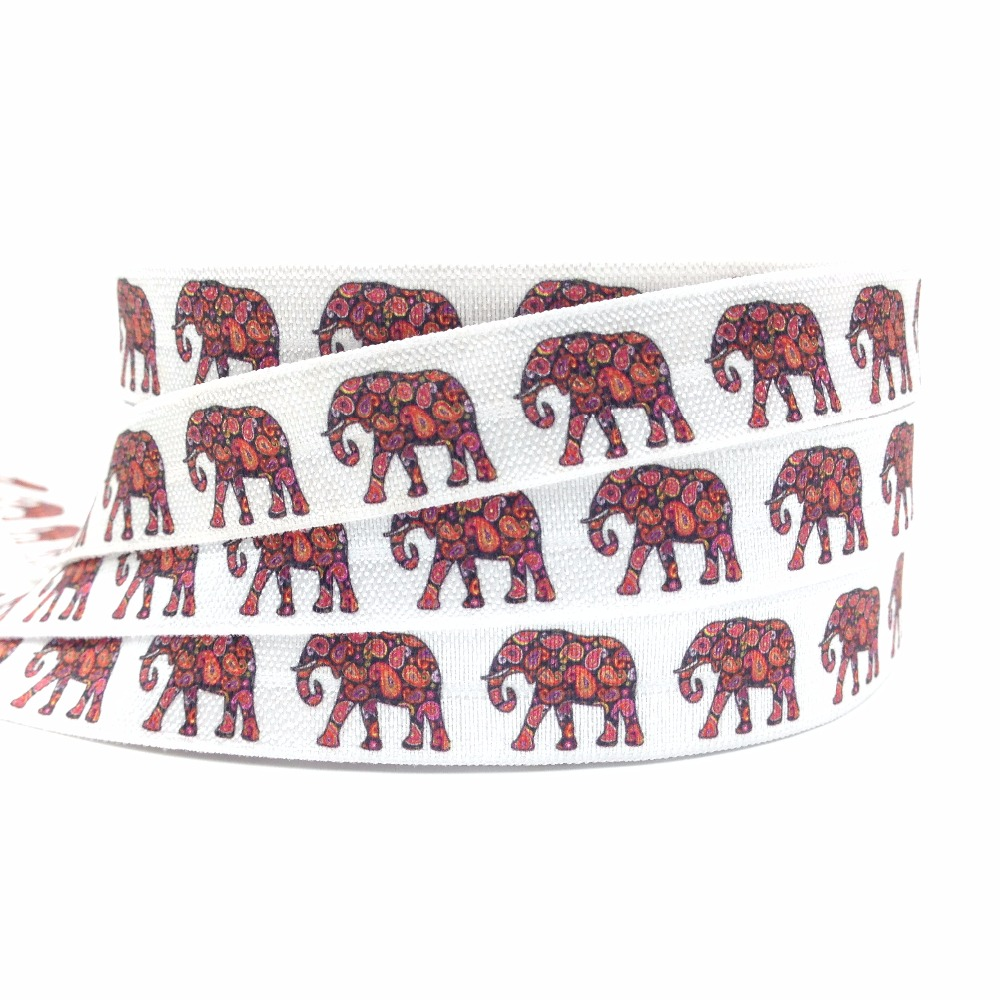 New Arrived Paisley Elephant Print Fold Over Elastic 10 Yards/lot Good Elasticity FOE Ribbon For Girls Hair Tie Hair Accessories