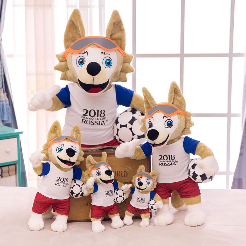 icottbaby 18/25cm Cartoon Plush Toys 2018 Russia Cute Mascot Wolf Soft Toys Wolf Doll Stuffed Animals Kids Gift 30cm cute korea pororo little penguin plush toys doll pororo with glasses plush soft stuffed animals toys for children kids gift