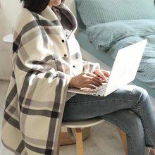 Cuadros de franela caliente + manta de lana polar de oficina piernas  rodilla tirar perezoso chal portátil manta gruesa con botón. 1cb6a5f4980e