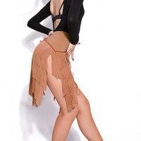 Newest Popular Latin Dance Skirt For Ladies Black Skin Tassel Skirt Women Ballroom Chacha Tango Samba Competitive Costumes I209
