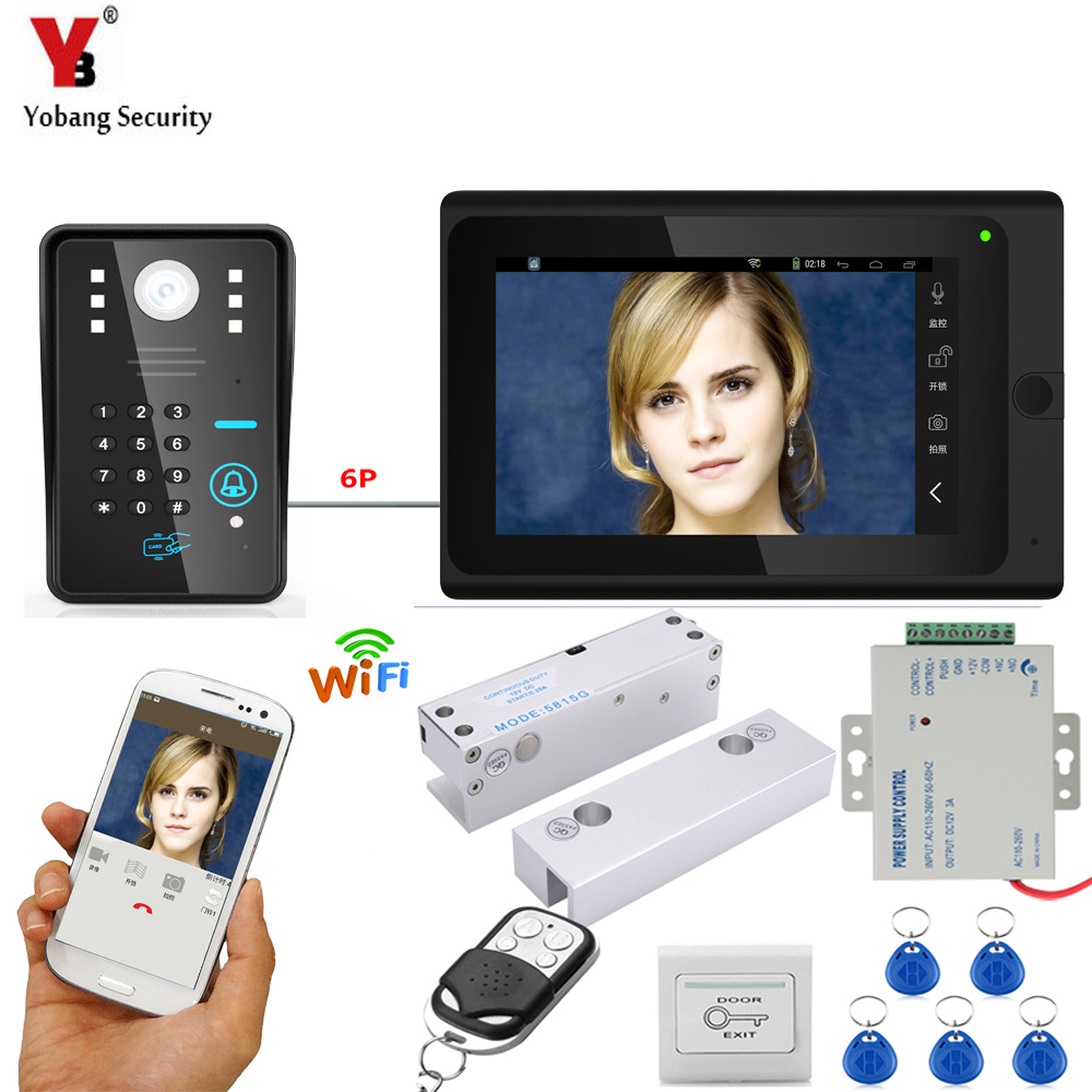 YobangSecurity 7 Inch Monitor Wifi Wireless Video Door Phone Doorbell Video Intercom System RFID Password+door Lock+Power Supply yobangsecurity rfid password 7 inch monitor wifi wireless video door phone doorbell video camera intercom system kit app control