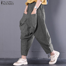 2019 ZANZEA Women Vintage Striped Harem Pants Plus Size Ladies Baggy Long Pantalones Mujer Casual Elastic Waist Turnip Trousers