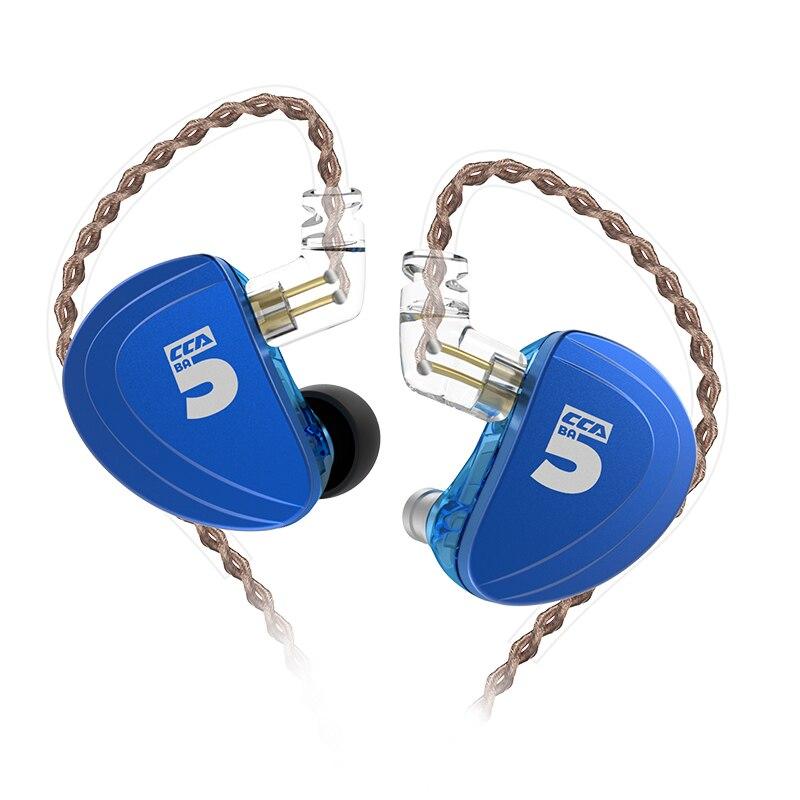 CCA A10 Earphones 5 BA Driver In Ear Earphone HIFI Bass Monitor Earphone Earbuds With Detachable Detach 2PIN Cable KZ AS10 CCA