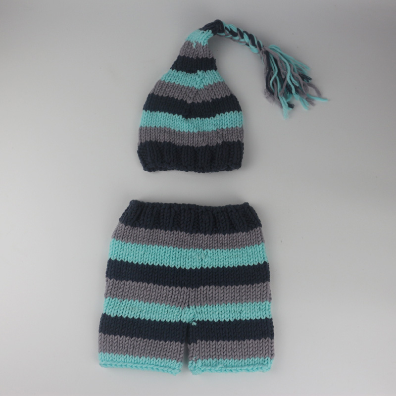 Newborn crochet outfits Infant braid tail hat and striped pants handmade costumes photography accessories props newborn baby