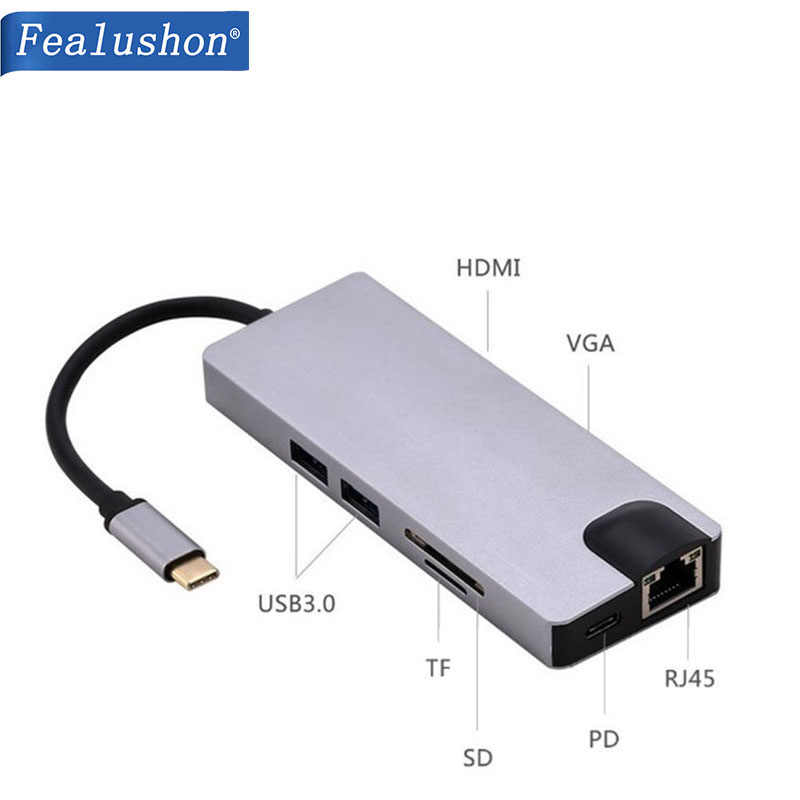 Docking Station com o Tipo C Plug HDMI VGA USB3.0 Entrega de Potência Superfície Hub para Laptop Macbook Pro HP DELL Lenovo samsung s8/s9