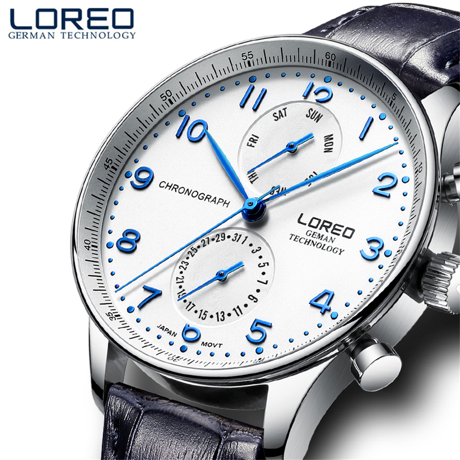 LOREO Original Watch Mens Top Brand Sapphire Crystal Men's Business Genuine Leather Dress Calendar Hour Clock Male Relogio