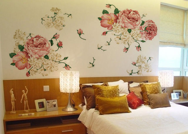 Muurstickers Slaapkamer Bloemen : Cm pioen bloemen queen antieke stijl verwijderbare