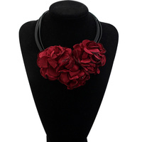 Leather Necklace For Women Classic Red Big Flower Necklace Pendant Girlfriend Girthday Gift Ideas Bitches Bar
