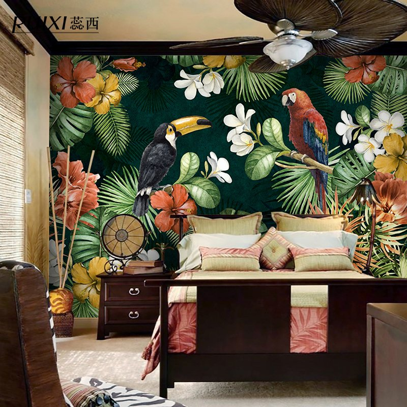 Aliexpress com   Buy Palm tree banana leaf mural wallpaper 3d rainforest  style Southeast Asia for living room bedroom backdrop papel parede from  Reliable