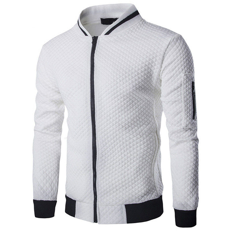 Mens Hoodies 2020 Male Brand Casual Zipper Jacket Stand-Neck Sudaderas Hombre Sweatshirt White Check 3D Plaid Tracksuit XXL