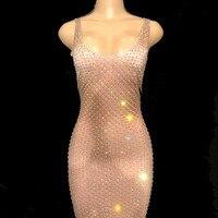 Для женщин пикантные Блестящие кристаллы длинное платье певица костюм Пром вечерние Dancer платья ночной клуб Stage бар выступлений Костюмы DJ