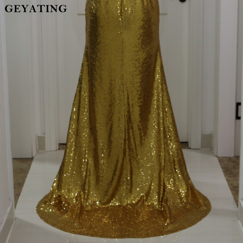 Sparkling Gold Sequin Mermaid Prom Dresses Sleeveless High Neck Long  Evening Dress 2018 vestidos fiesta African Formal Gowns-in Prom Dresses  from Weddings ... 2ae93ec1e51d