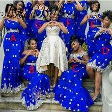 Sexy Mermaid Bridesmaid Dresses Royal Blue Robe Demoiselle D'honneur Appliques Prom Dresses Long African Bridesmaids Dresses