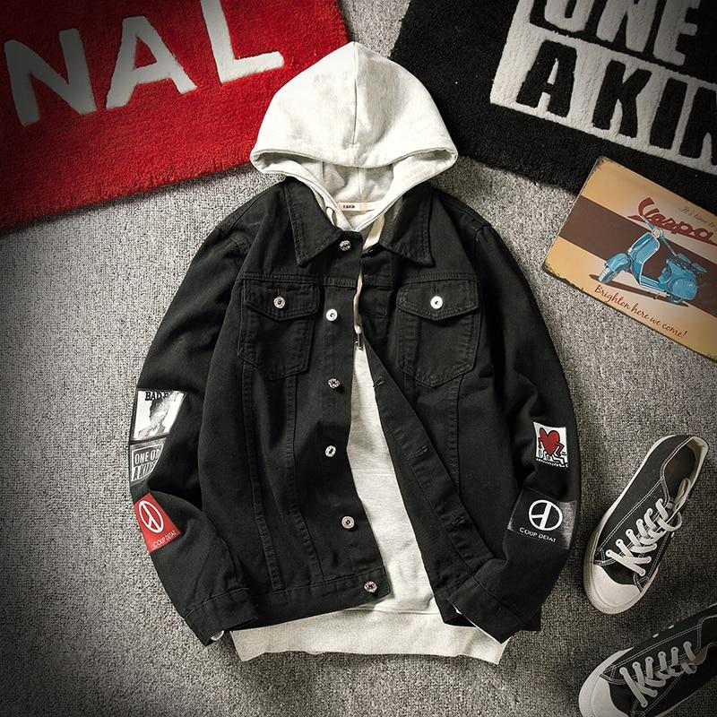 Men Autumn Black Denim Jackets Large Size Outwear Jean Coats New Fashion Men Print Casual Denim Jackets Size 5XL