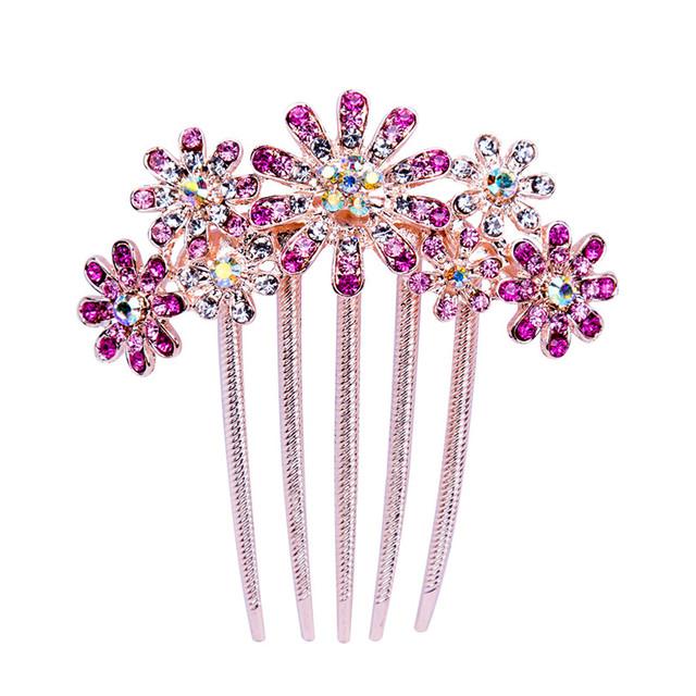 AWAYTR Fashion Crystal Sunflower Hair Comb Hair Jewelry Wedding Bride Floral Hairpins Women Hair Accessories Headdress
