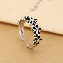 925 sterling silver Opening a finger ring Flowers restore ancient ways Women's fashion jewelry wholesale 999 restoring ancient ways fu lu shou sterling silver ring men width domineering silver plate ring ring