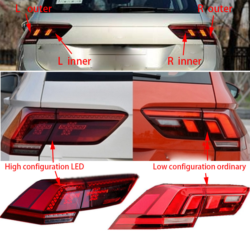 1pcs For VW TIGUAN L 2017- Rear Right Left Inner Outer Side Tail Light LED/ordinary Brake Lamp Brake Light Turn Signal