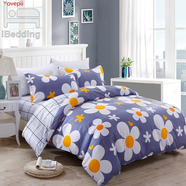 Yovepii Flower Bedding Set 3/ 4pcs Flat sheet, pillowcase&duvet Cover Set AB Side Bed Linens cotton%polyester Bedclothes Kid Bed