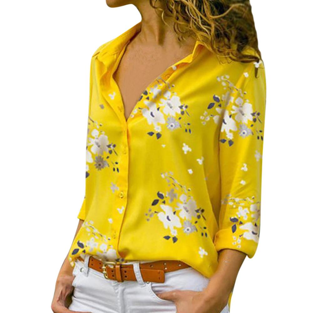 Women tops Plus Size Loose Print V-neck Long Sleeve Print Blouse Pullover Tops Shirt Blouse Women Summer Office Shirts Elegant