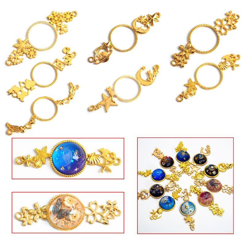 7pcs/set Metal Frame Charms Pendant Bezel Setting UV Resin Epoxy Jewelry Necklace DIY Charm Handmade Accessories