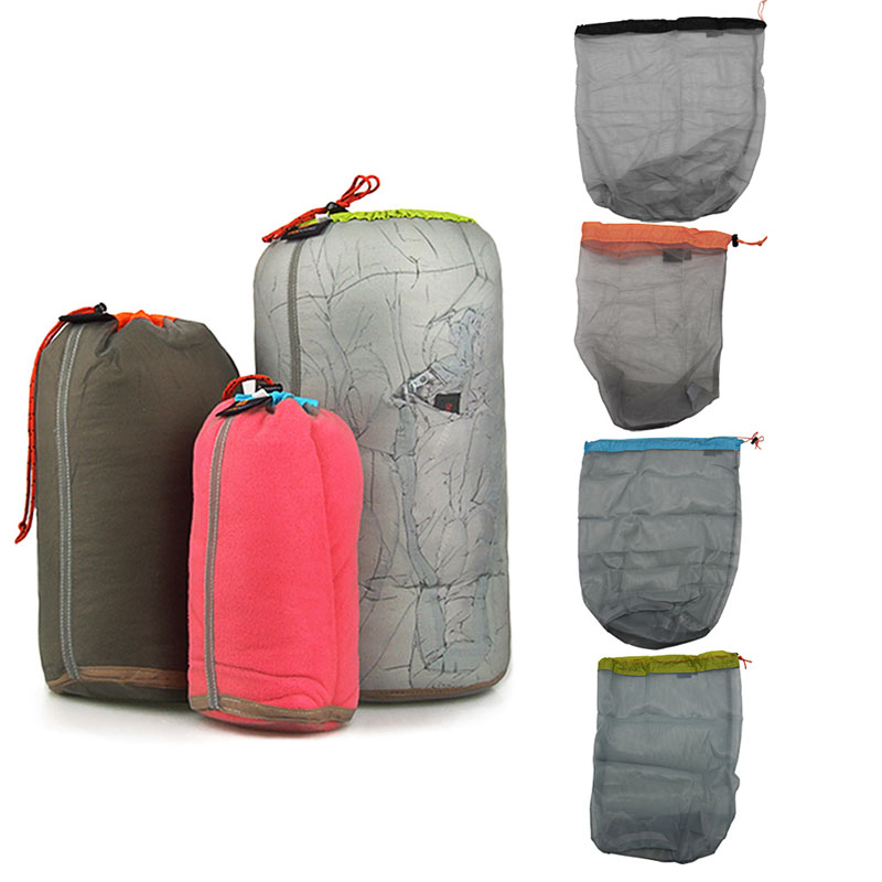 Lightweight Mesh Stuff Sack Drawstring Storage Bag Pouch for Travel Camping