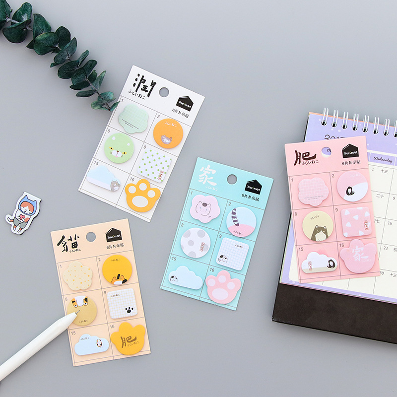 Cute kitten Cat Sticky Notes post Memo Pad Office Supplies Planner Stickers Paper Bookmarks School Stationery Students Gifts