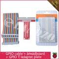 O envio gratuito de torta de Framboesa Pi 3 T, kit DIY de expansão (cabo + placa de ensaio + GPIO GPIO T-placa adaptadora)