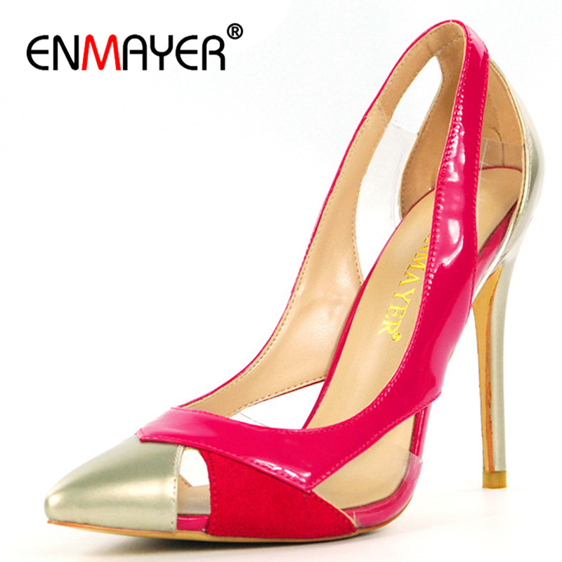 ENMAYER Chaussures Femme Mixed Colors Shoes Woman High Heels Pointed Toe Summer Shallow Pumps Pink Blue Pumps Womens Shoe enmayer cross tied shoes woman summer pumps plus size 35 46 sexy party wedding shoes high heels peep toe womens pumps shoe
