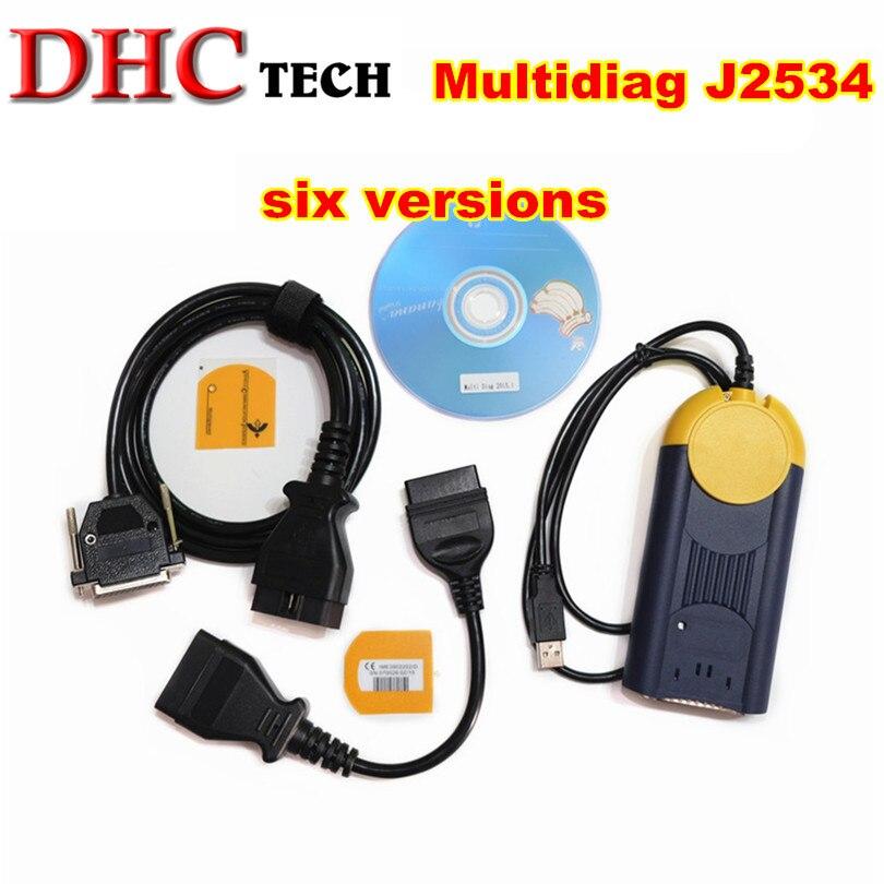 Car Diagnostic tool multidiag j2534 six version V2015 Pass Thru OBD2 Device Multi Diag Access J2534