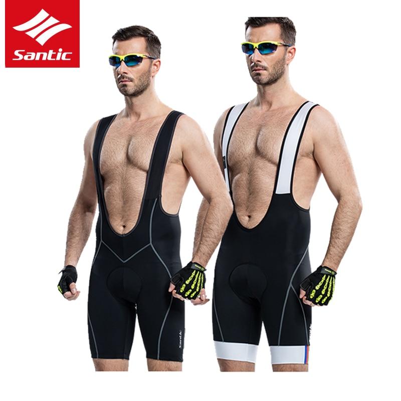 Santic Men Cycling Bib Shorts 4D Padded MTB Downhill Shorts Cuissard Velo Pro Bike Bicycle Bib Shorts Bermuda Ciclismo